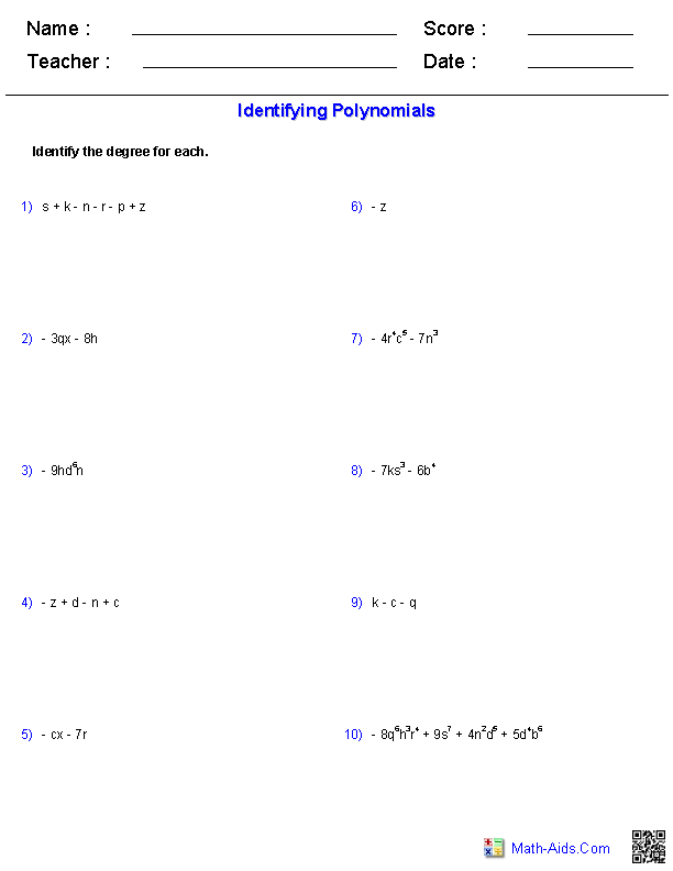 Identifying the Degree of Monomials and Polynomials Worksheets