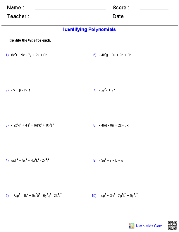 Pre-Algebra Worksheets | Monomials and Polynomials Worksheets