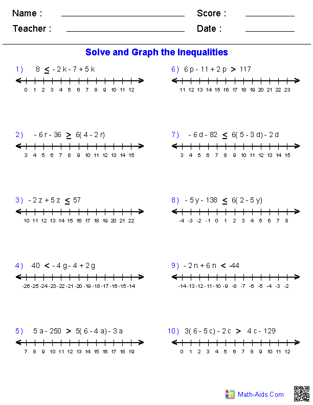 Printables Solve And Graph Inequalities Worksheet pre algebra worksheets inequalities worksheets