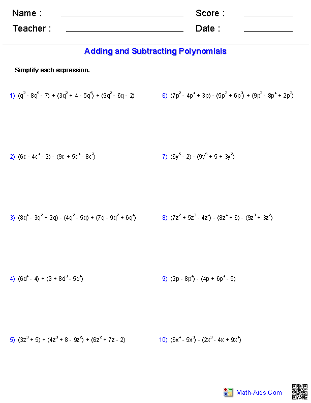 Pre-Algebra Worksheets | Monomials and Polynomials WorksheetsAdding and Subtracting Polynomials Worksheets