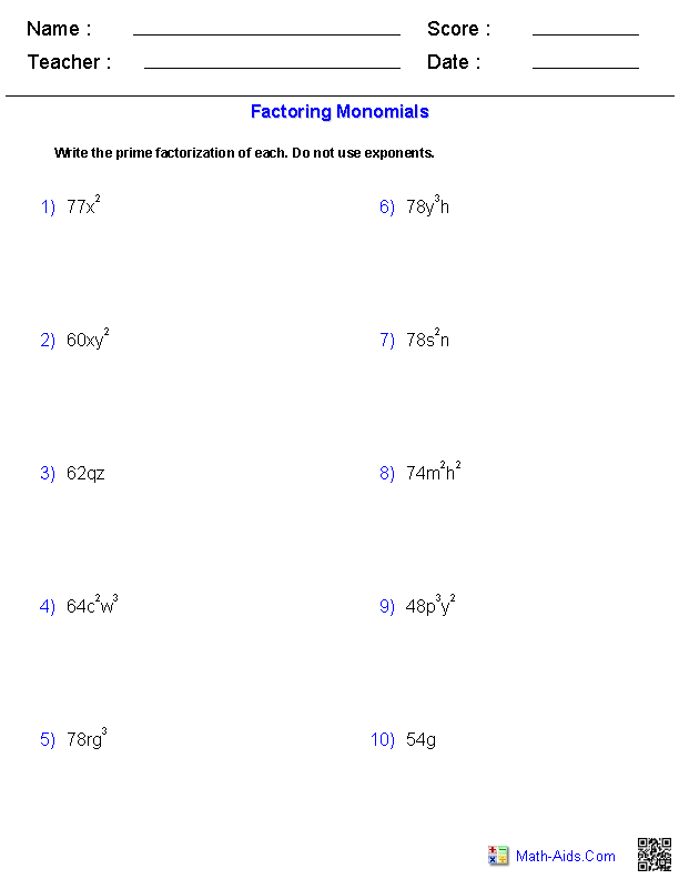 Factoring Monomials Worksheets