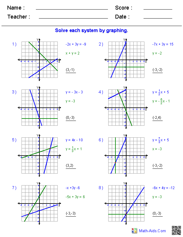 Systems of Equations Worksheets