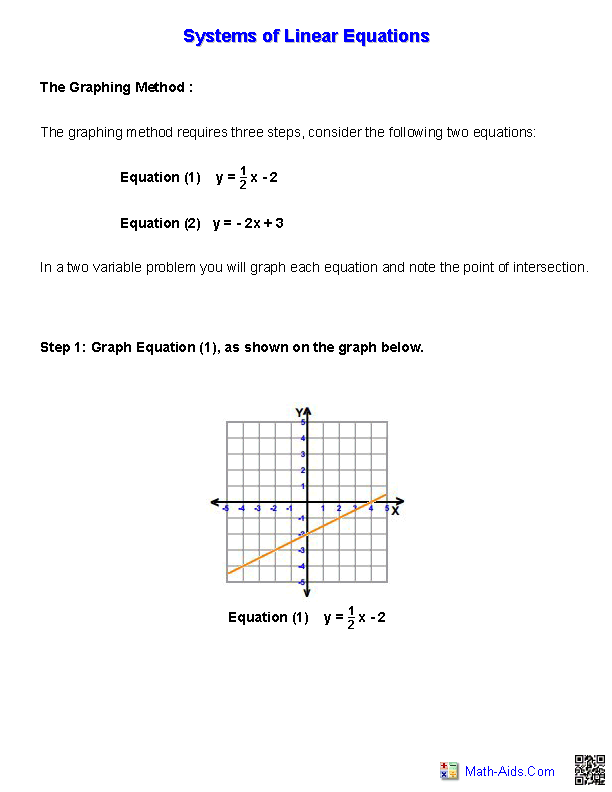 PreAlgebra Worksheets – Solving Systems of Linear Equations by Graphing Worksheet