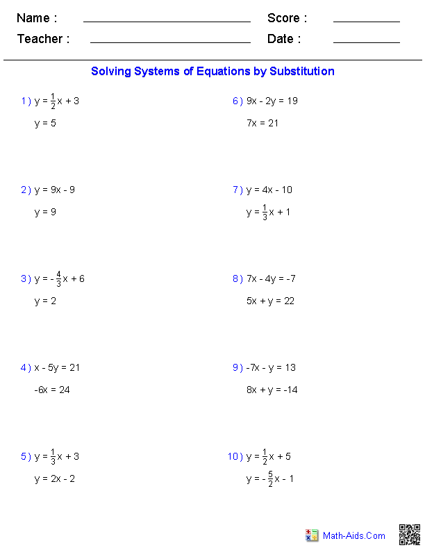 PreAlgebra Worksheets – Solving Systems of Equations Substitution Worksheet