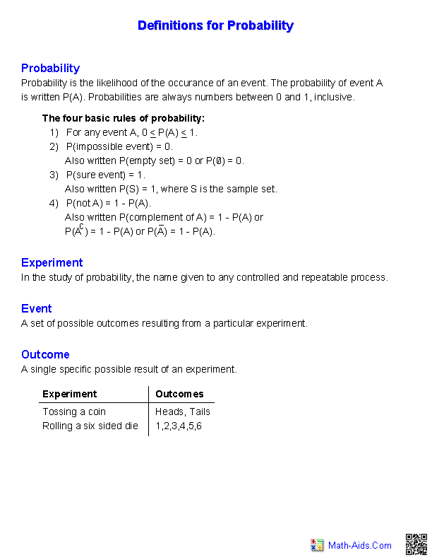Worksheets 7th Grade Probability Worksheets probability worksheets dynamically created definitions of probability