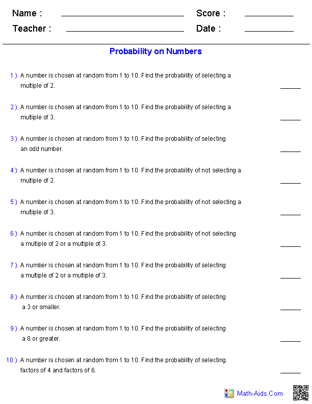 Probability Worksheets on Numbers
