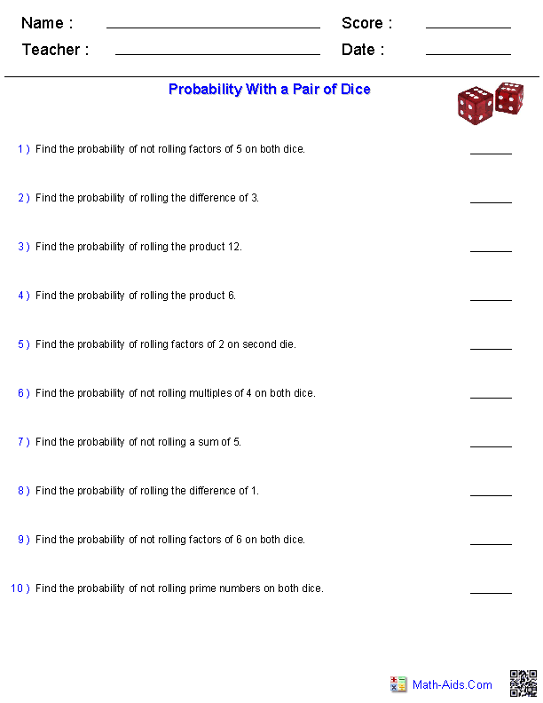 Probability Worksheets with a Pair of Dice