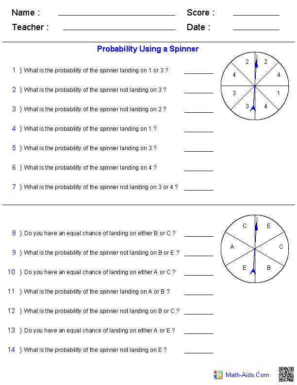 Printables Probability Worksheet probability worksheets dynamically created using a spinner