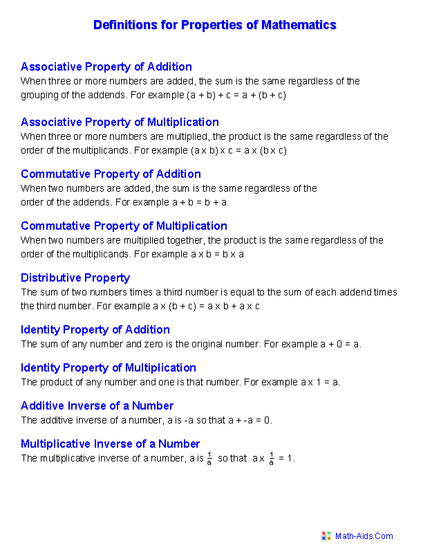 Properties Worksheets | Properties of Mathematics Worksheets