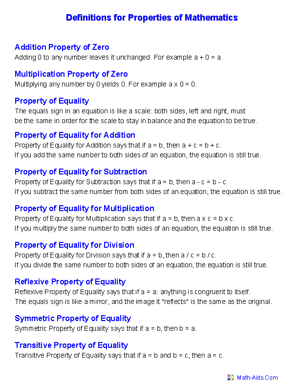 Properties Worksheets | Properties of Mathematics WorksheetsDefinition for Properties of Mathematics Worksheets