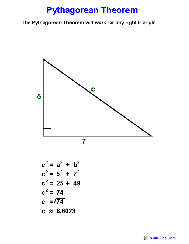 Pythagorean Theorem Worksheets – Math Pythagorean Theorem Word Problems Worksheets