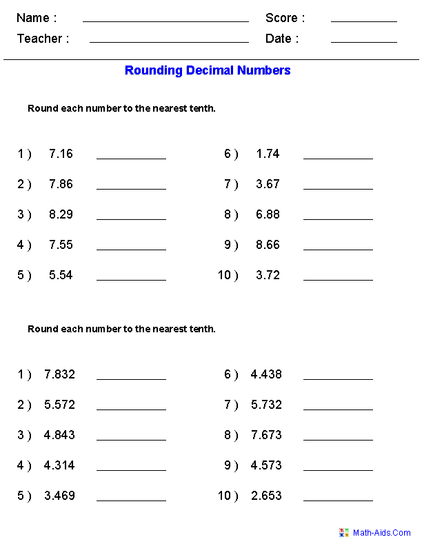 Decimals Worksheets – 5th Standard Maths Worksheets
