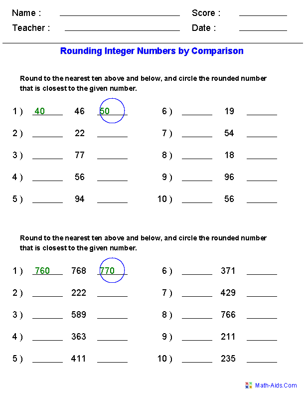 Worksheets Rounding Worksheets For 3rd Grade rounding worksheets for practice integers by comparison