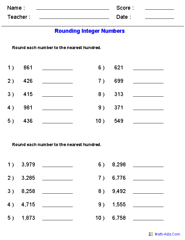 10th Grade Math Worksheets Rounding worksheets