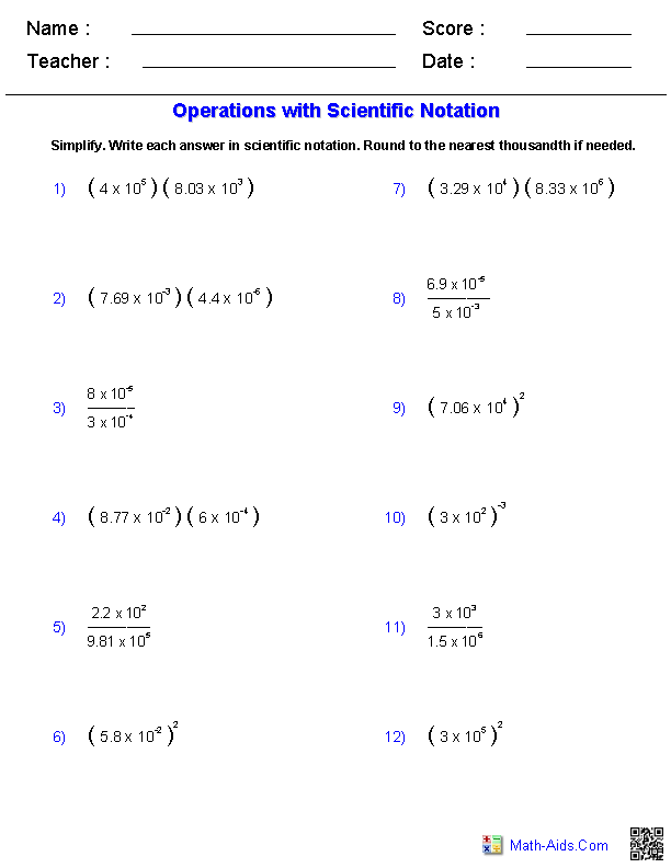 Printables Order Of Operations Worksheets 8th Grade exponents and radicals worksheets operations with scientific notation