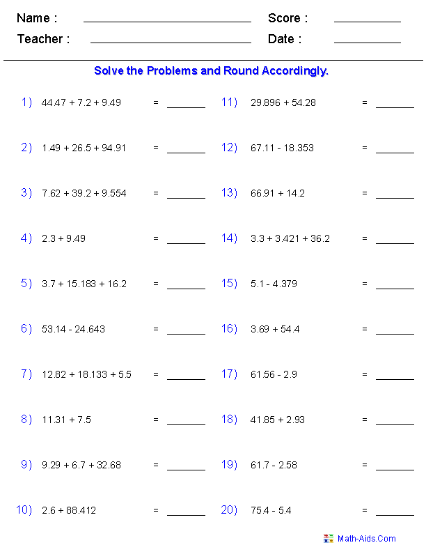 Significant Figures Worksheets – Adding Whole Numbers and Decimals Worksheet