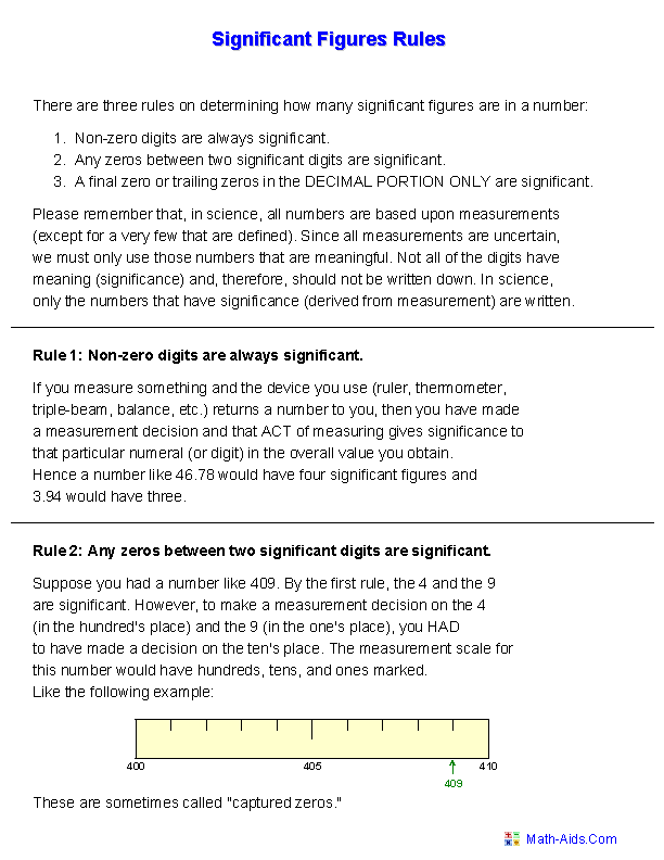 Significant Figures Handout Worksheets