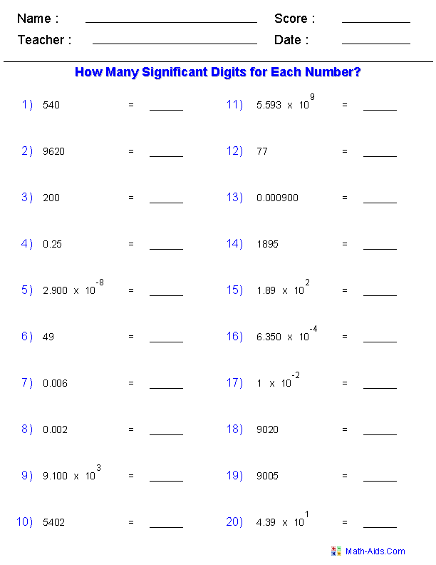 Identify Significant Digits Worksheets
