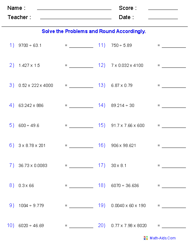 Significant Figures Worksheets – Dividing Whole Numbers by Decimals Worksheet