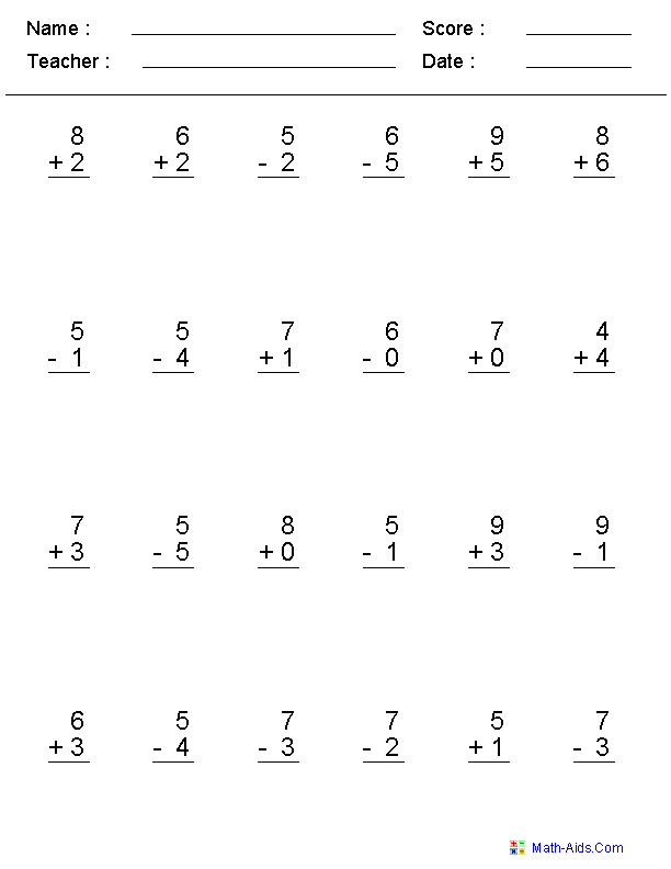 Worksheet Addition And Subtraction Worksheets For First Grade mixed problems worksheets for practice single digit adding subtracting worksheets