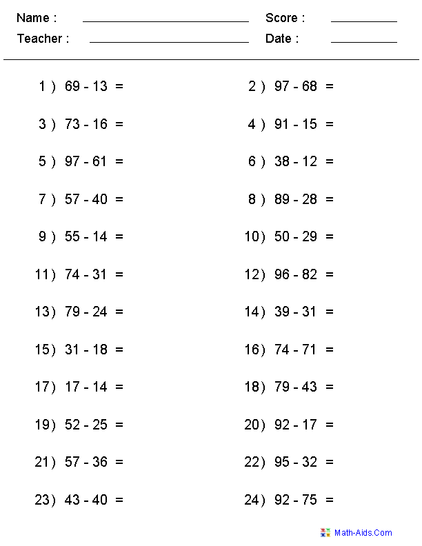 Subtraction Worksheets – Two Digit Subtraction Worksheets