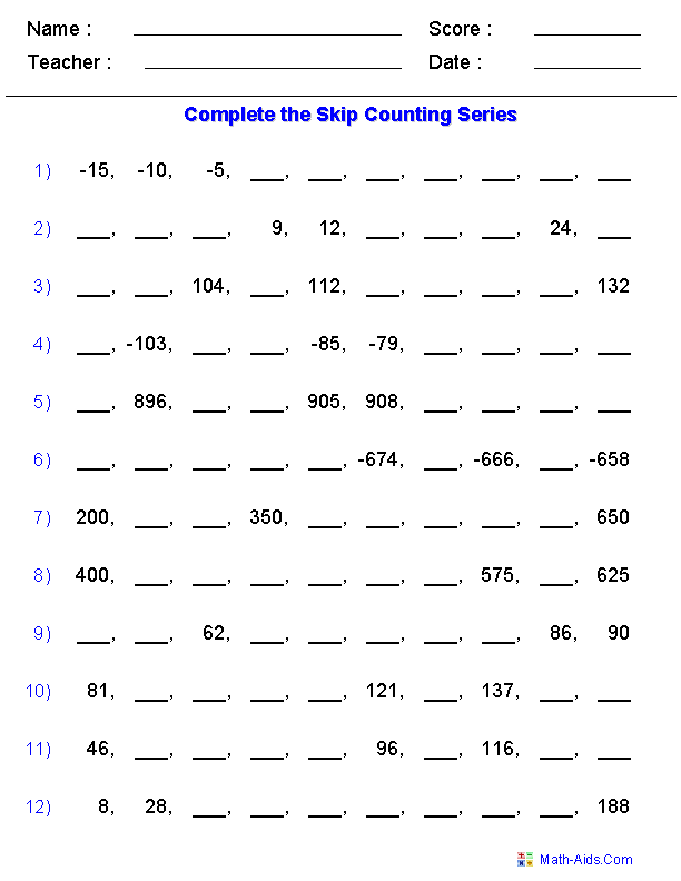 Advanced Skip Counting Worksheets