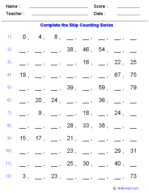 Easy Skip Counting Worksheets