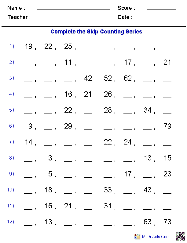 Printables Arithmetic Worksheets math worksheets dynamically created skip counting worksheets