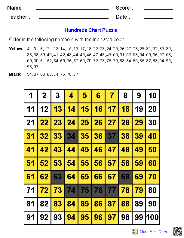 Hundreds Chart Picture Puzzles On A Hundreds Chart