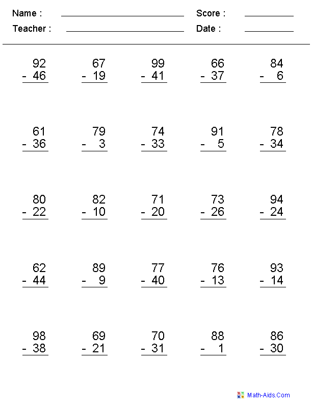 Subtraction Worksheets – Basic Math Worksheets for Adults