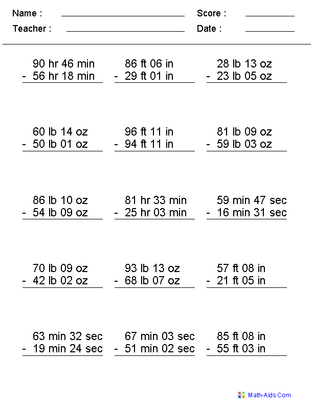 Irregular Units Subtraction Worksheets