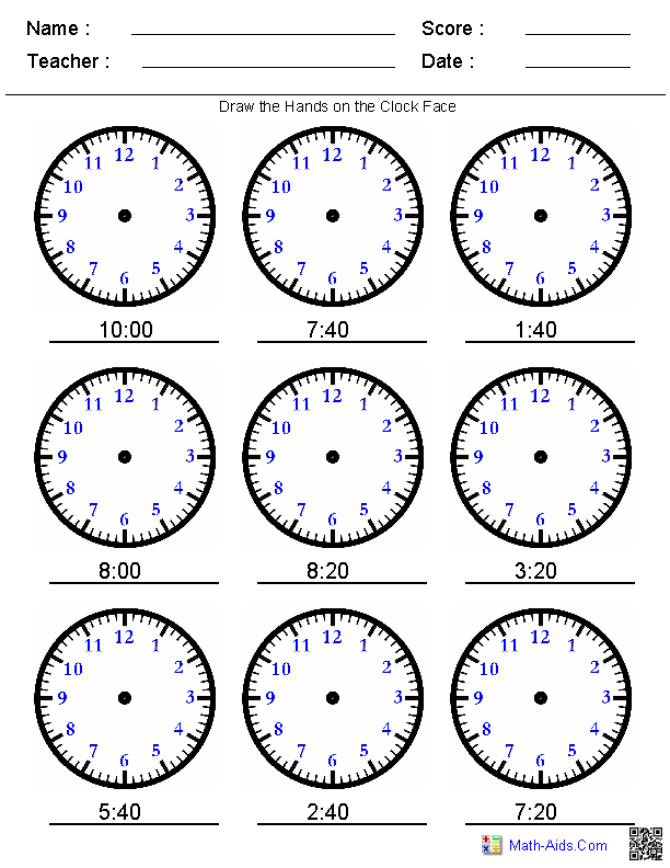 Clock Worksheets - to 1 minute