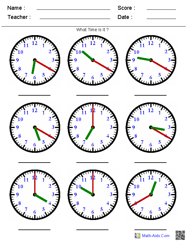 Lovely Identify The Time By The Hands Worksheets