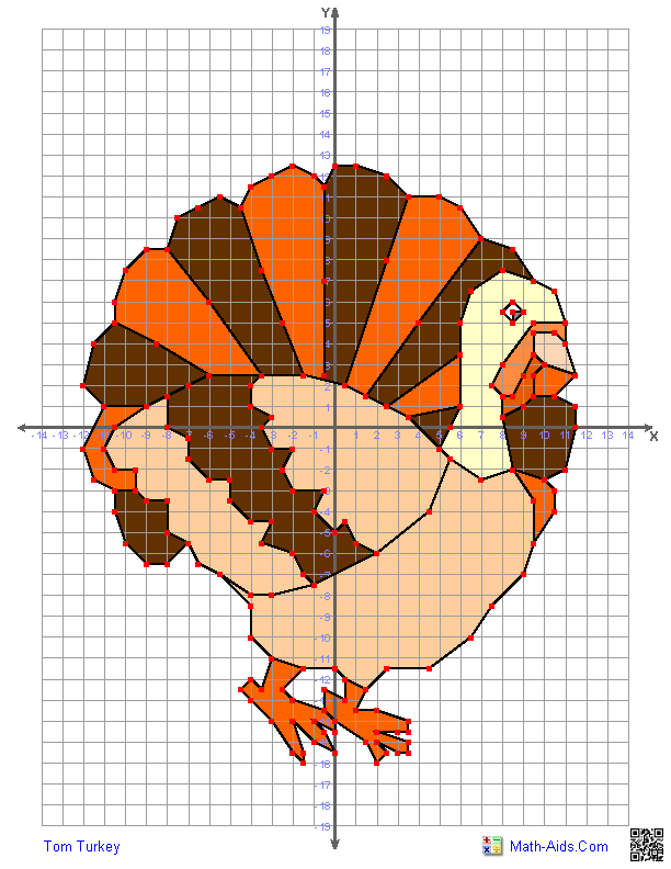 Printables Graphing Paper Using Math Points graphing worksheets four quadrant characters tom turkey