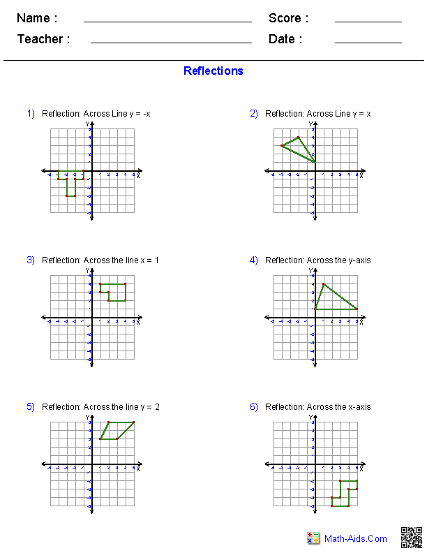 Worksheets Reflection Worksheet geometry worksheets transformations reflections worksheets