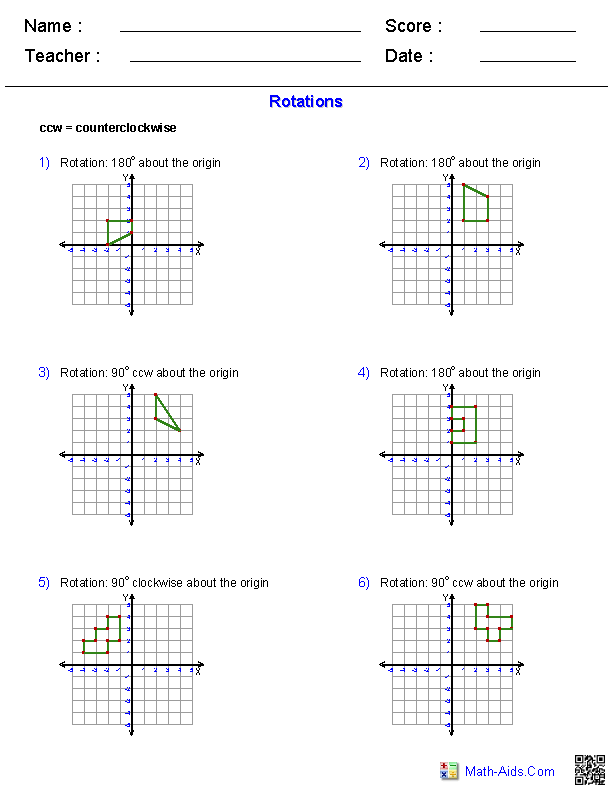 Geometry Worksheets – Translation Maths Worksheet