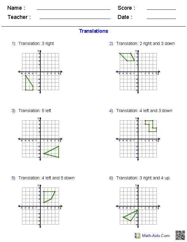{Geometry Worksheets – Translation Maths Worksheet