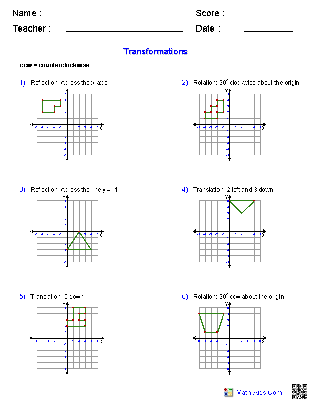 Printables Transformations Worksheet geometry worksheets transformations all combined