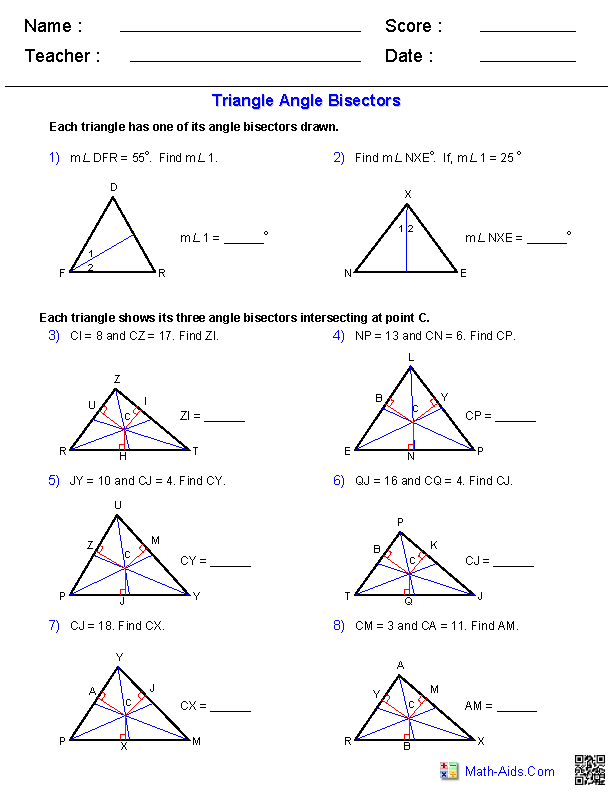 Printables Triangles Worksheet geometry worksheets triangle angle bisectors worksheets