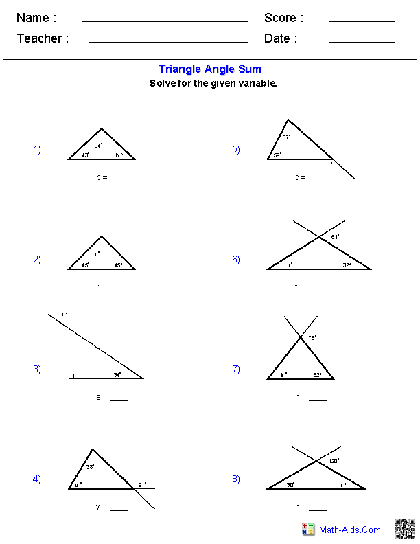 {Geometry Worksheets – Exterior Angle Theorem Worksheet