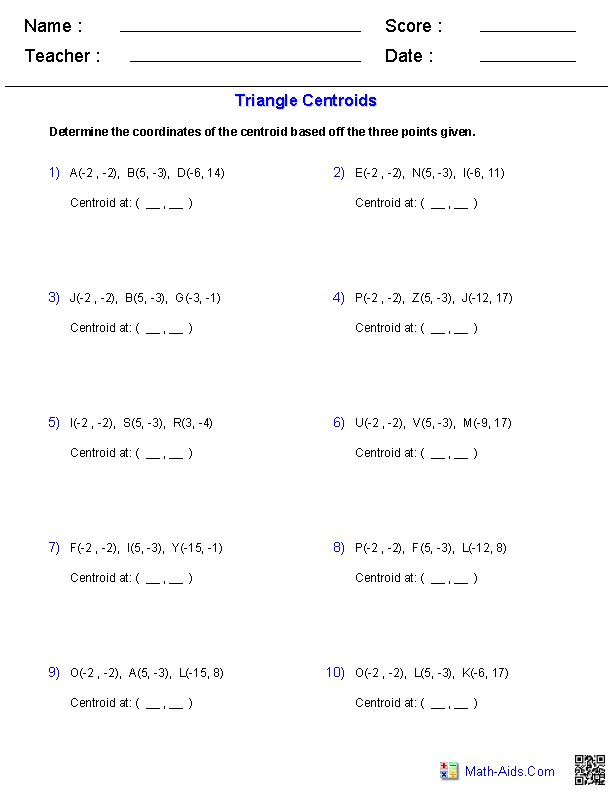 Centroid Worksheets