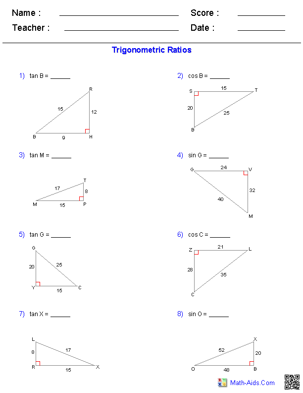 Trigonometric Ratios Worksheets