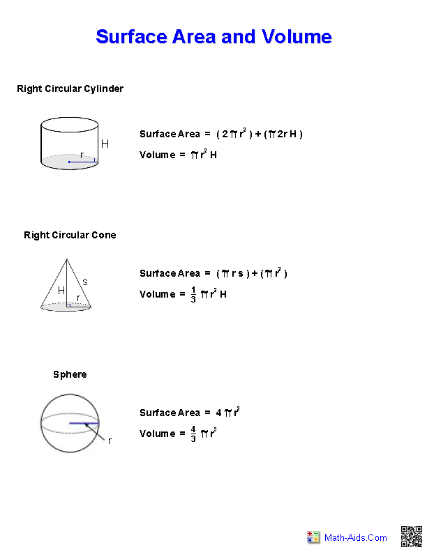 surface area and volume handout - Surface Area And Volume Worksheet