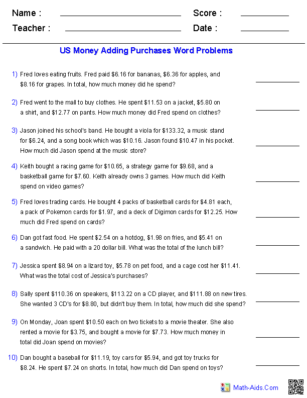 word problems worksheets  dynamically created word problems adding three purchases