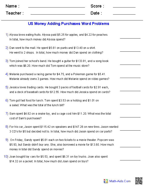 Word Problems Worksheets – Money Division Worksheets