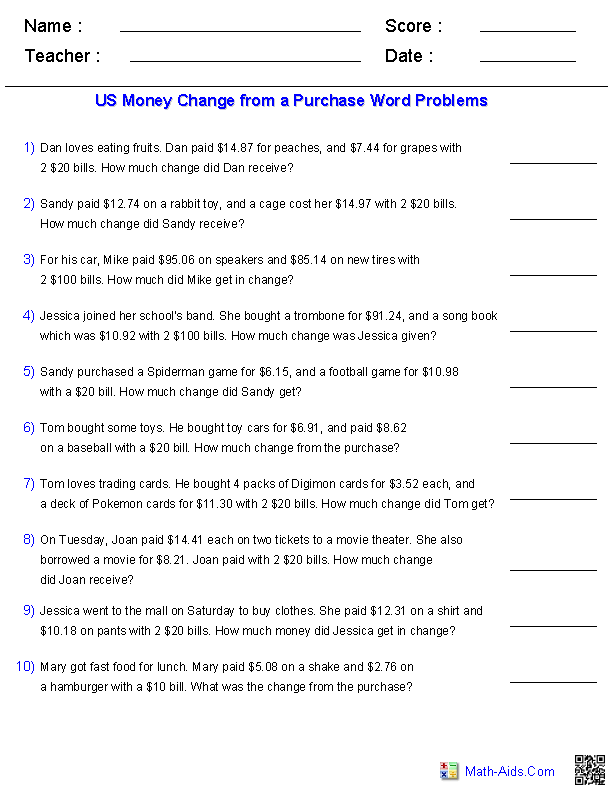 Word Problems for Change from a Purchase