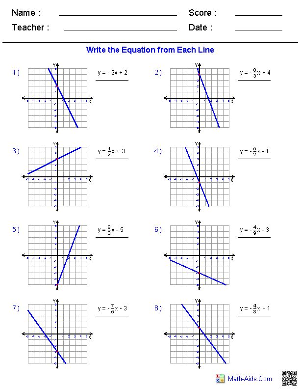 Printables Graphing Linear Equations Worksheets algebra 1 worksheets linear equations writing worksheets