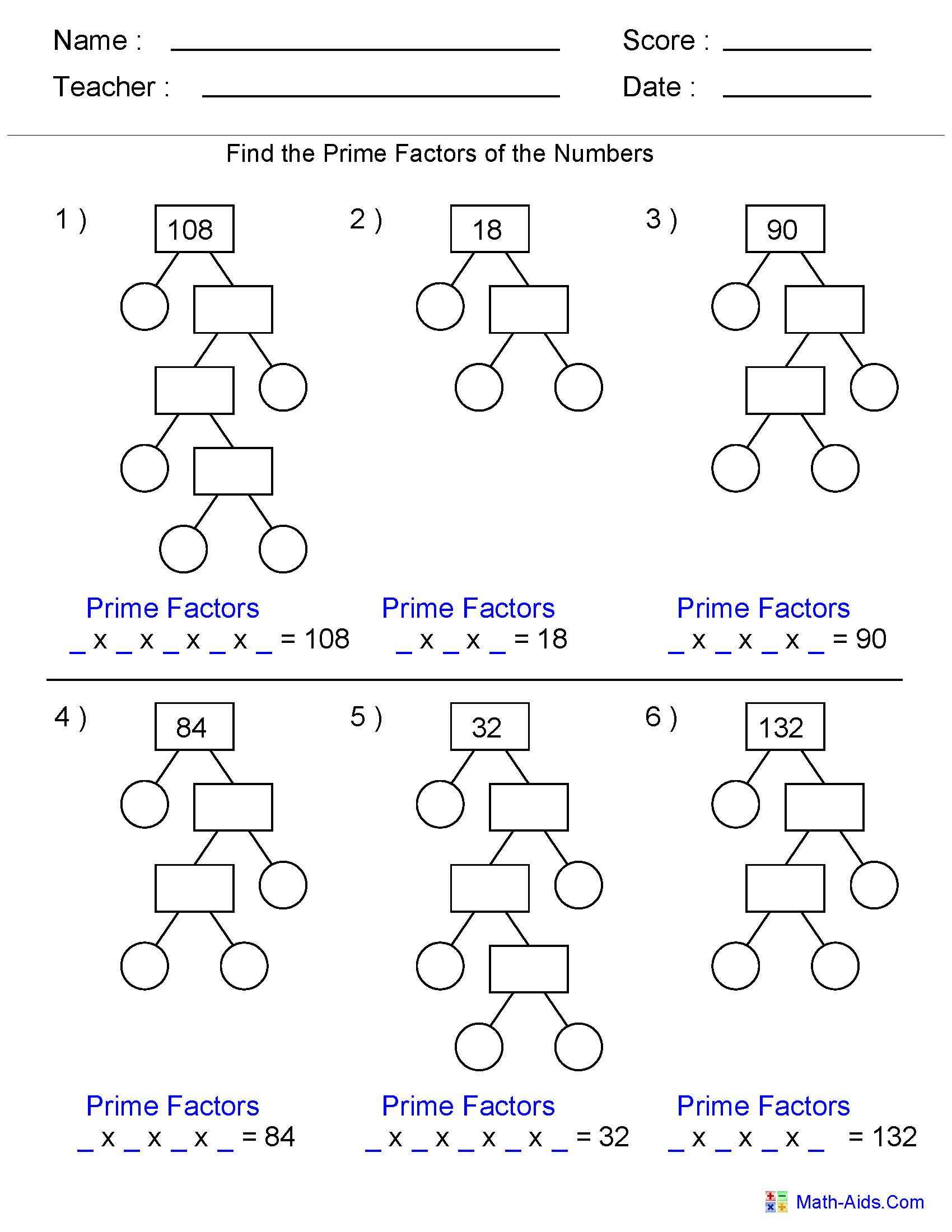 ... Factorization Worksheets Factor Trees on scale factor worksheets pdf