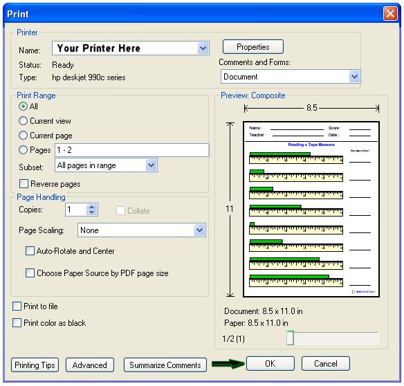 Math-Aids Com | Printing Tips Page